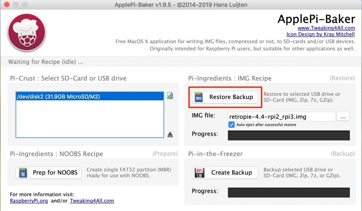 Escribiendo la imagen de RetroPie en macOS