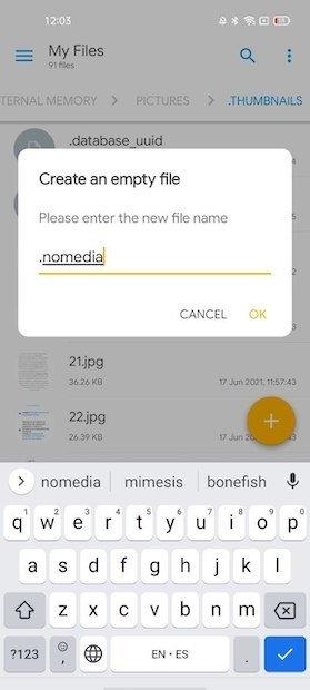 Especificar nombre del archivo