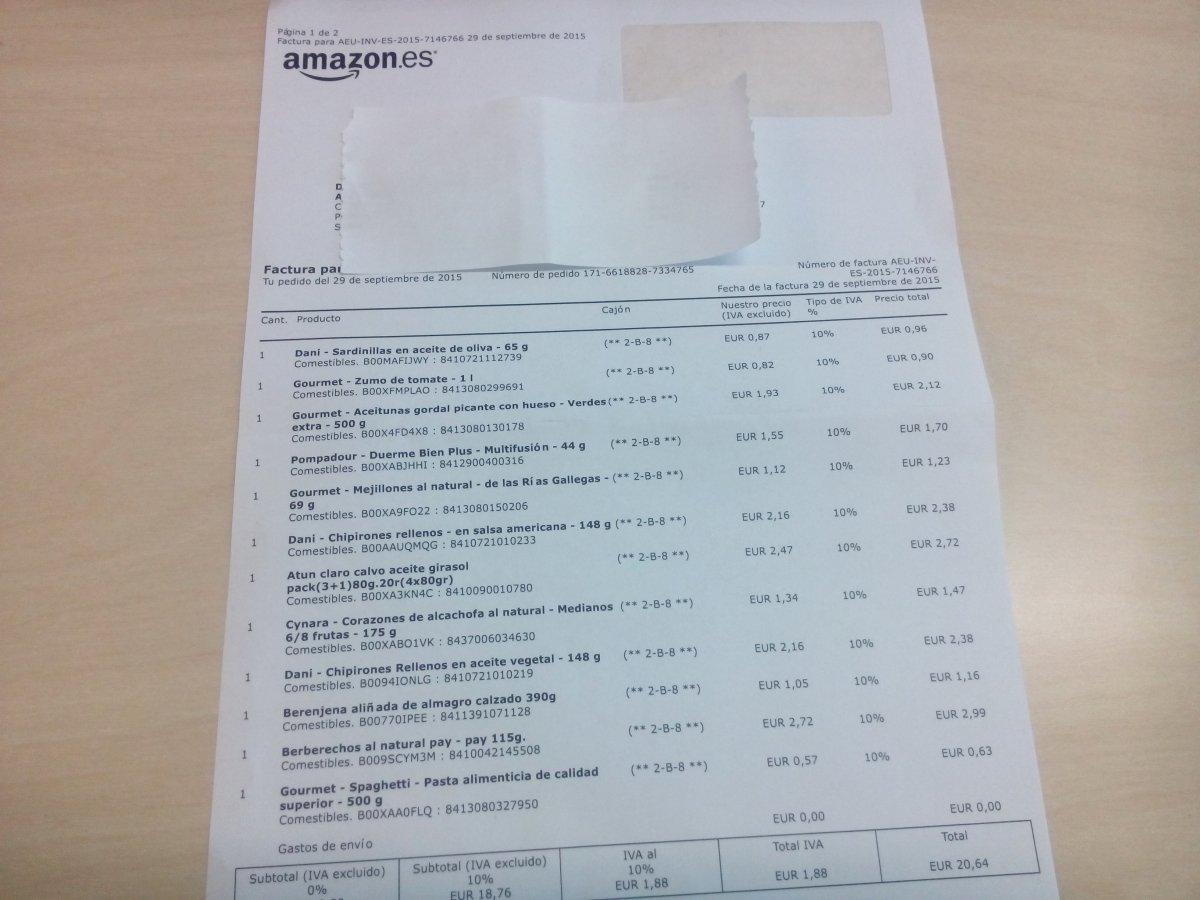 Ésta es la factura del pedido a Amazon