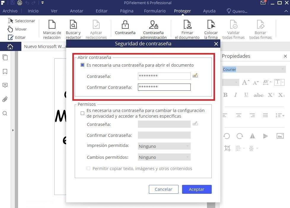 Establecer contraseña para un archivo PDF con PDFelement