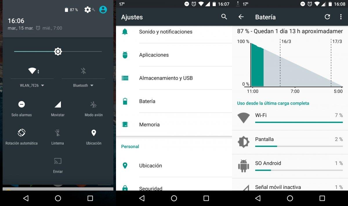 Estadísticas de batería en Android 6.0