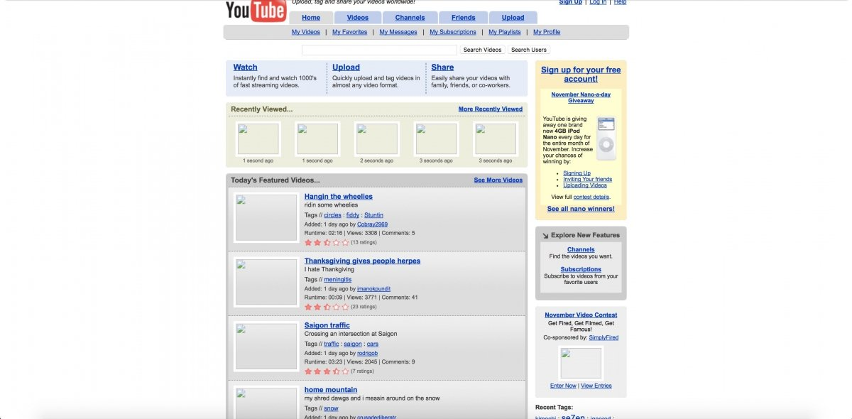 Este era el aspecto de YouTube en noviembre de 2005