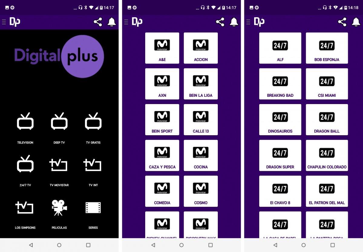 Este es el aspecto de la app Digital Plus