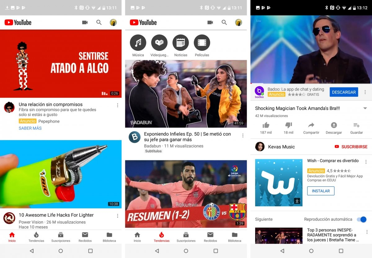 This is what YouTube looks like on Android