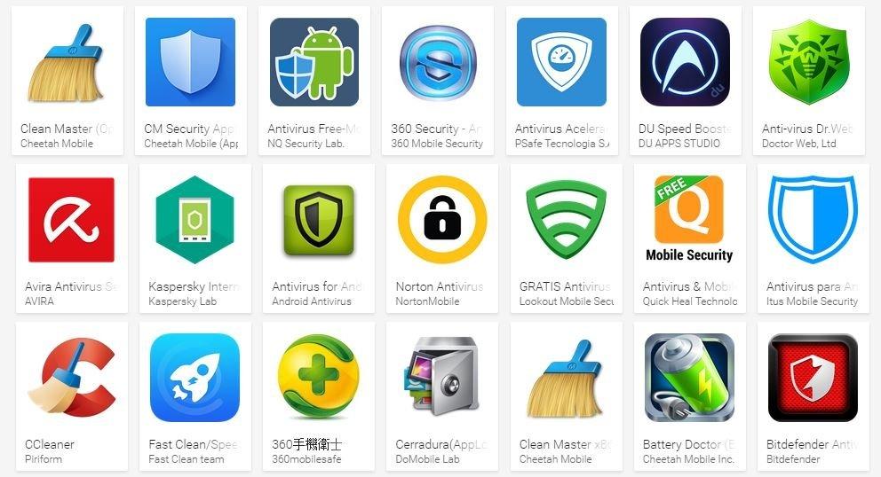 Estos son algunos antivirus que nos podemos encontrar en Google Play Store