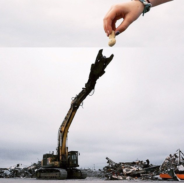 Excavadora trituradora de metal + Cacahuete