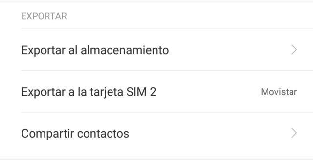 Exportación de contactos a la memoria del teléfono