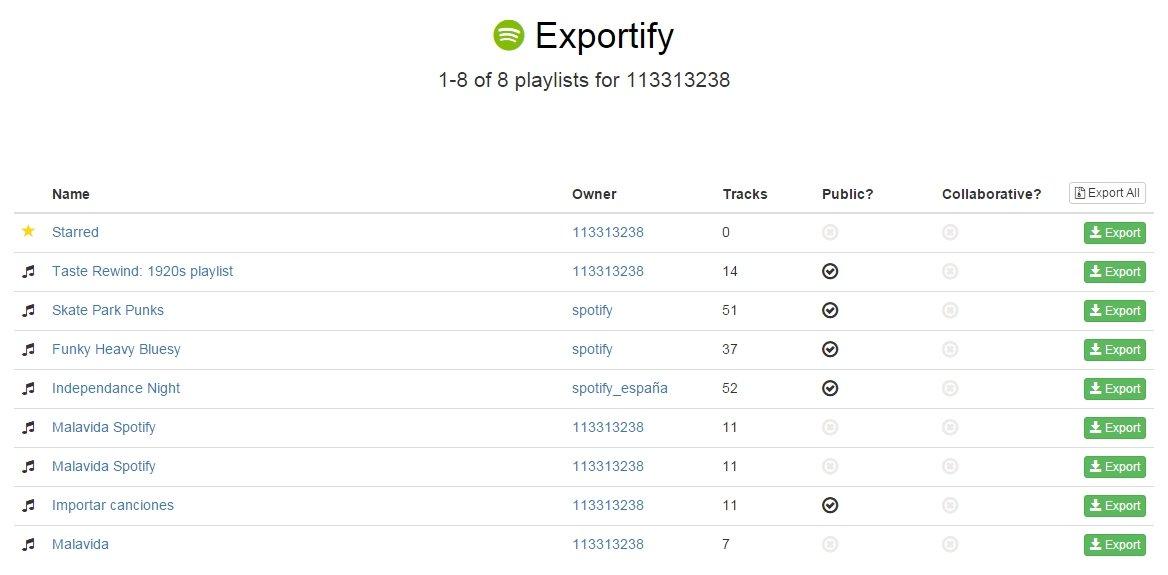 Exportify te permite exportar las listas de Spotify en formato CSV