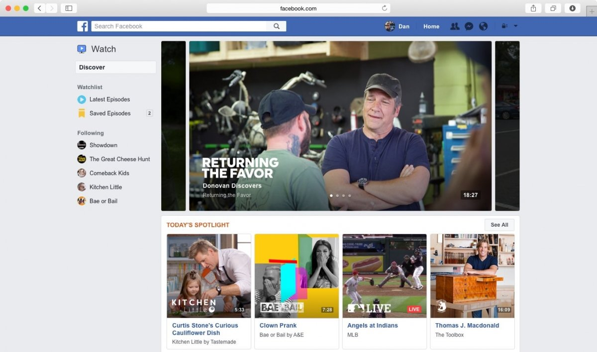 Facebook Watch en ordenadores