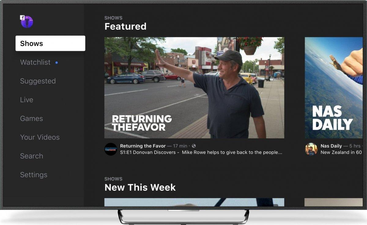 Facebook Watch en una SmartTV