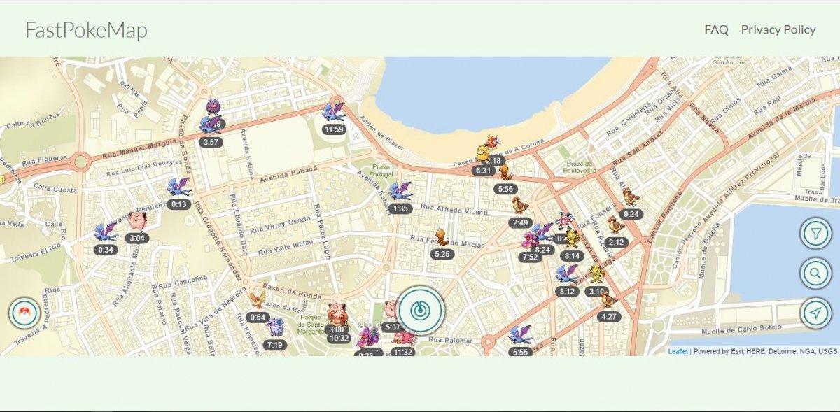 FastPokeMap sobre una ubicación concreta