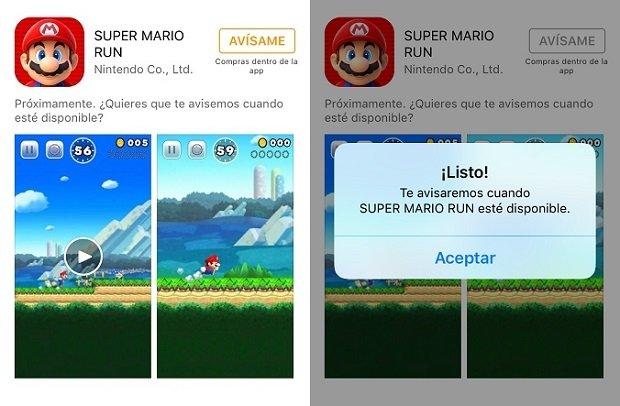 Ficha de Super Mario Run en la App Store donde puedes suscribirte a notificaciones
