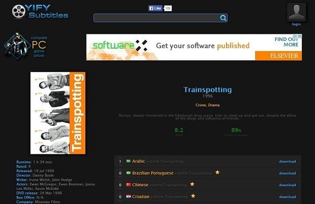Ficha de una película en YIFY Subtitles