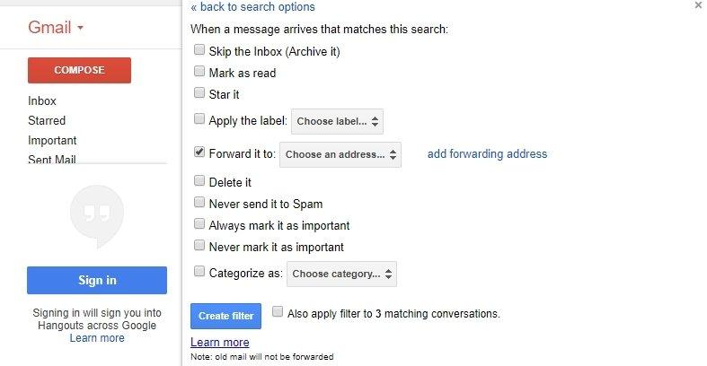 Cómo crear reglas en Gmail para reenviar mensajes a otra cuenta