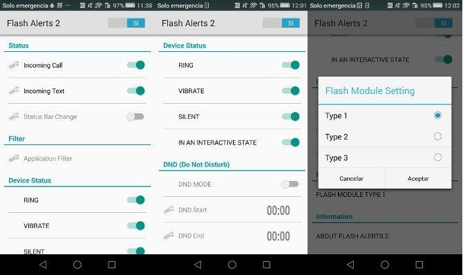 Flash Alerts 2: Encender y apagar (ON/OFF), elegir modos y configurar parpadeo