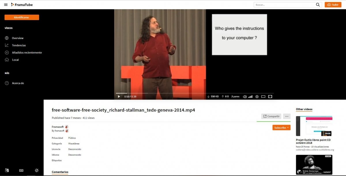 Fragmento de una conferencia de Richard Stallman en PeerTube