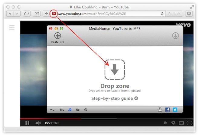 Función arrastrar y soltar de MediaHuman YouTube to MP3