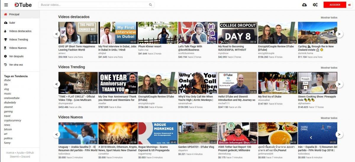 Galería de vídeos de DTube