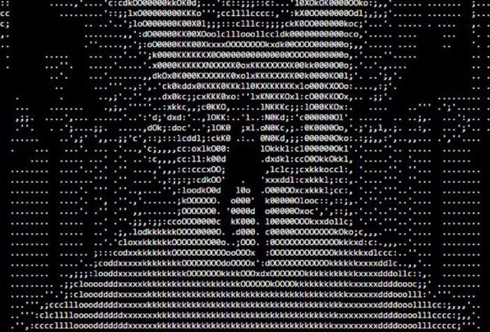 Gangnam Style en AsciiTube en blanco y negro