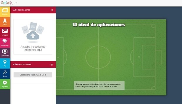 Genial.ly nos permite subir cualquier imagen guardado en nuestro equipo
