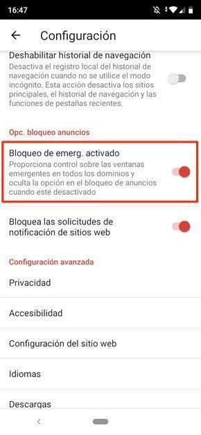 Gestión de bloqueo de pop-ups en Adblocker Browser