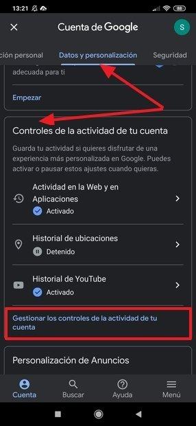 Gestión de cuentas de Google