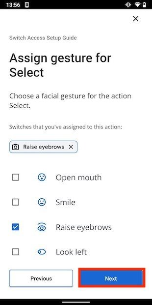 Gesto facial para seleccionar