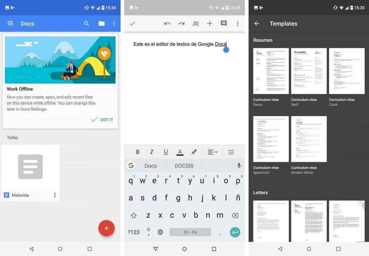 Google Docs es una buena suite ofimática en móviles