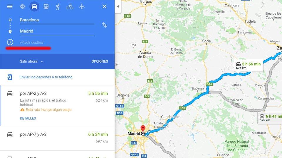 Cómo hacer una ruta en Google Maps con varias paradas