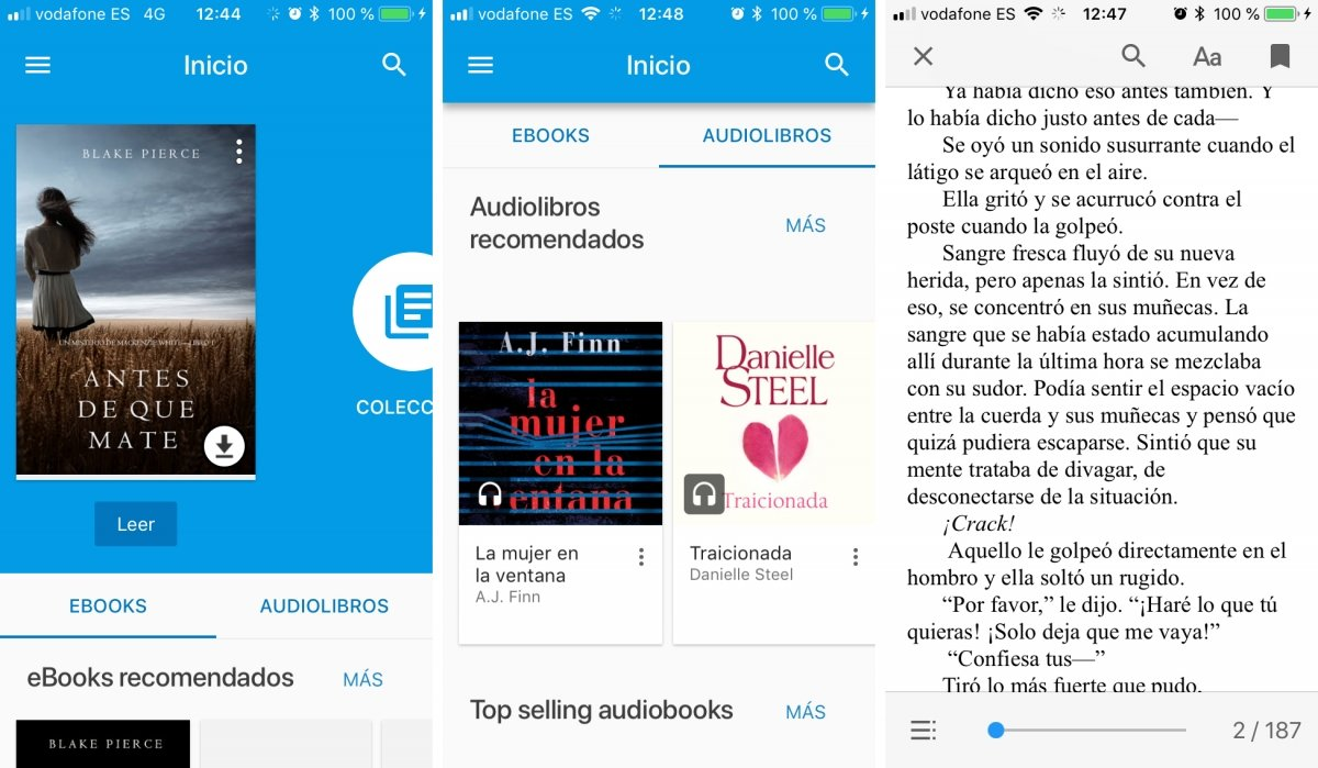Google Play Books en su versión para iPhone