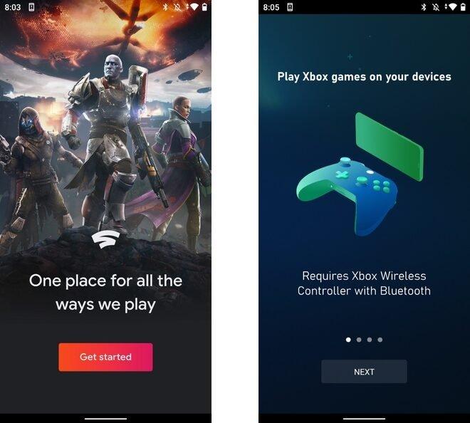 Google Stadia y xCloud en un dispositivo Android