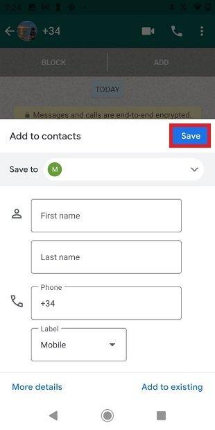 Guardar contacto desde WhatsApp