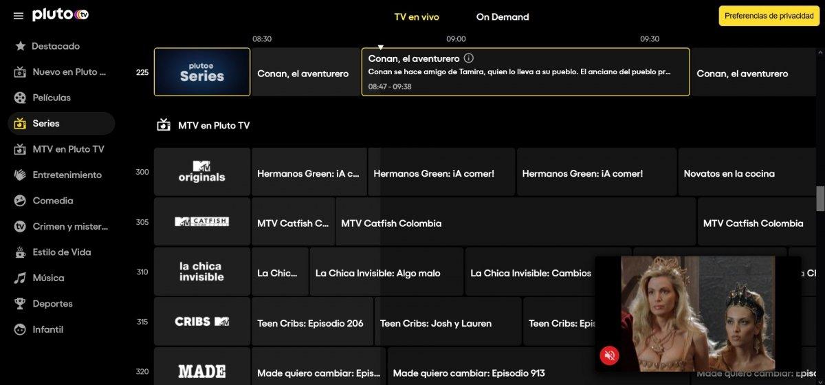 Guía de programación de canales de Pluto TV