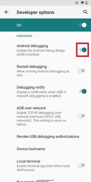 Habilitar la depuración USB en Android