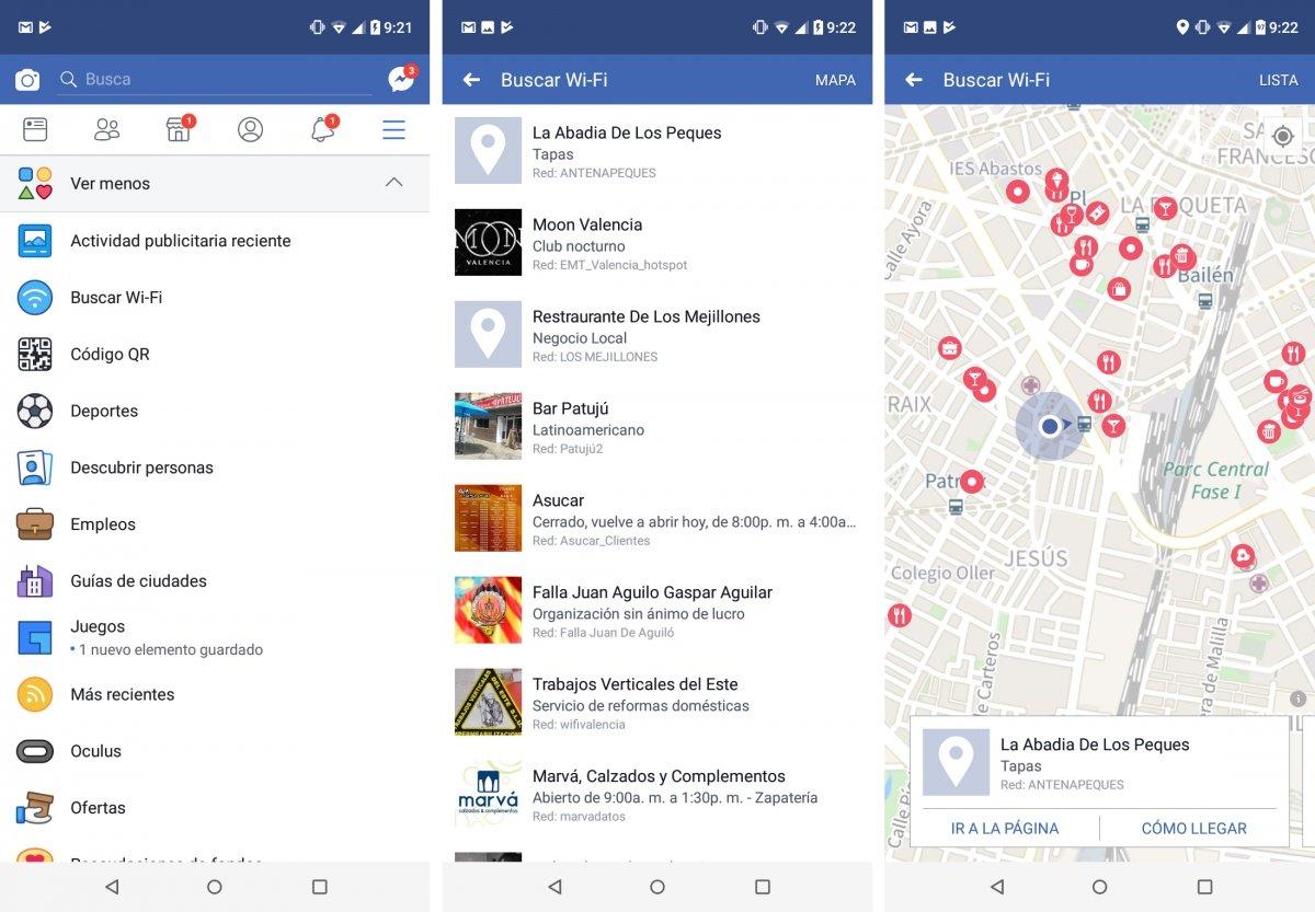 Herramienta de buscar redes wifi de Facebook