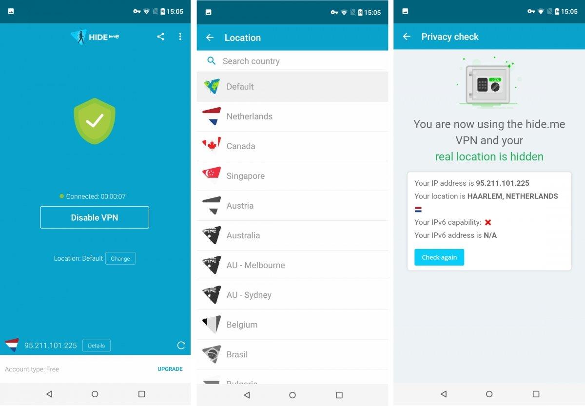 Hideme VPN para Android oculta tu conexión