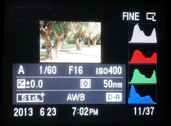 Histograma de niveles de gris y para cada uno de los canales RGB