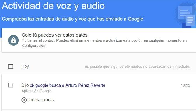Historial de voz en Google
