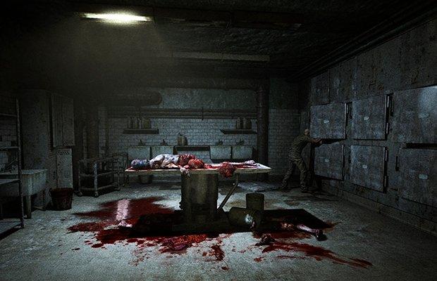 Horrorizante y sangrienta habitación con un cadáver dentro de Outlast