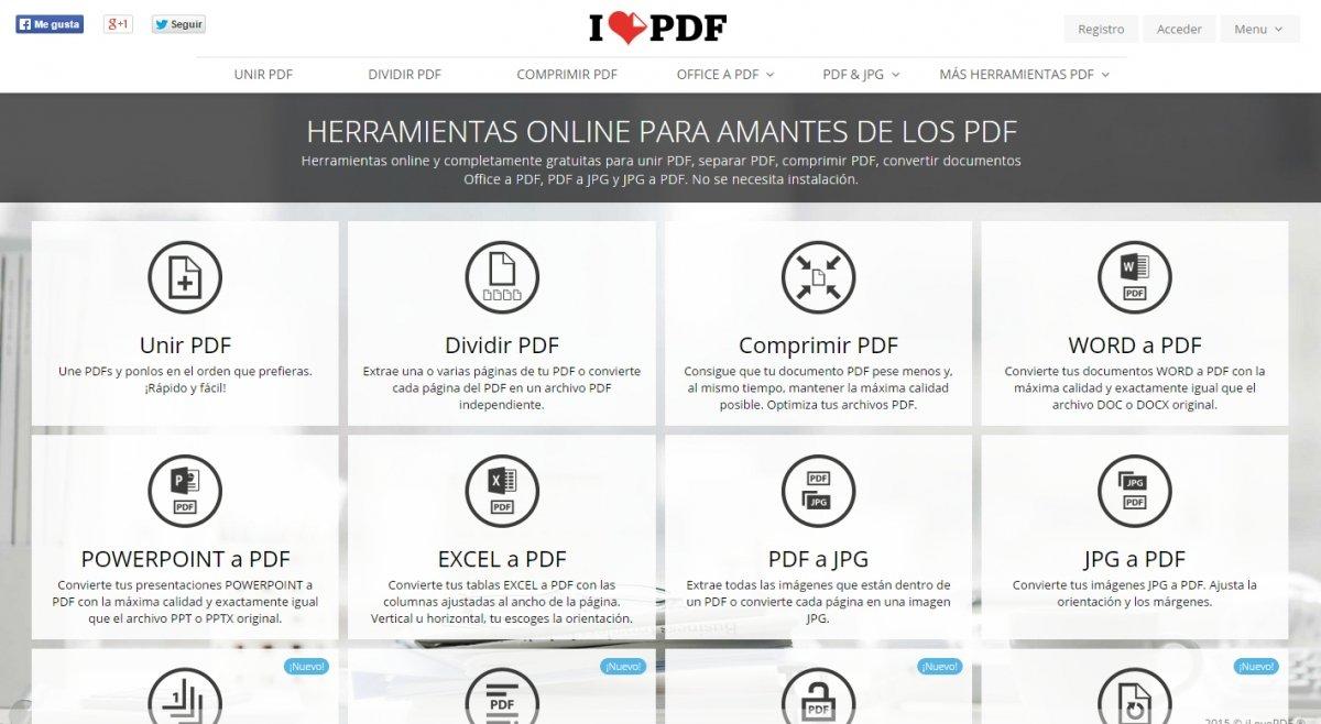 ILovePDF convierte JPEG, Word, Excel y PowerPoint a PDF