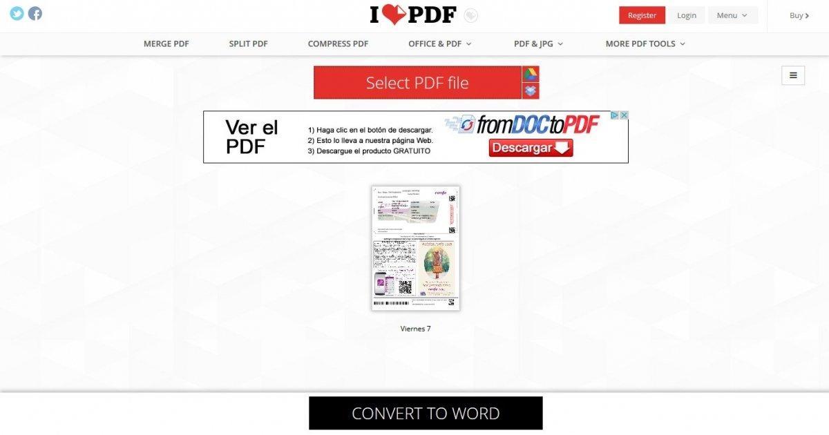 iLovePDF es un conversor de formatos online que ofrece excelente resultado