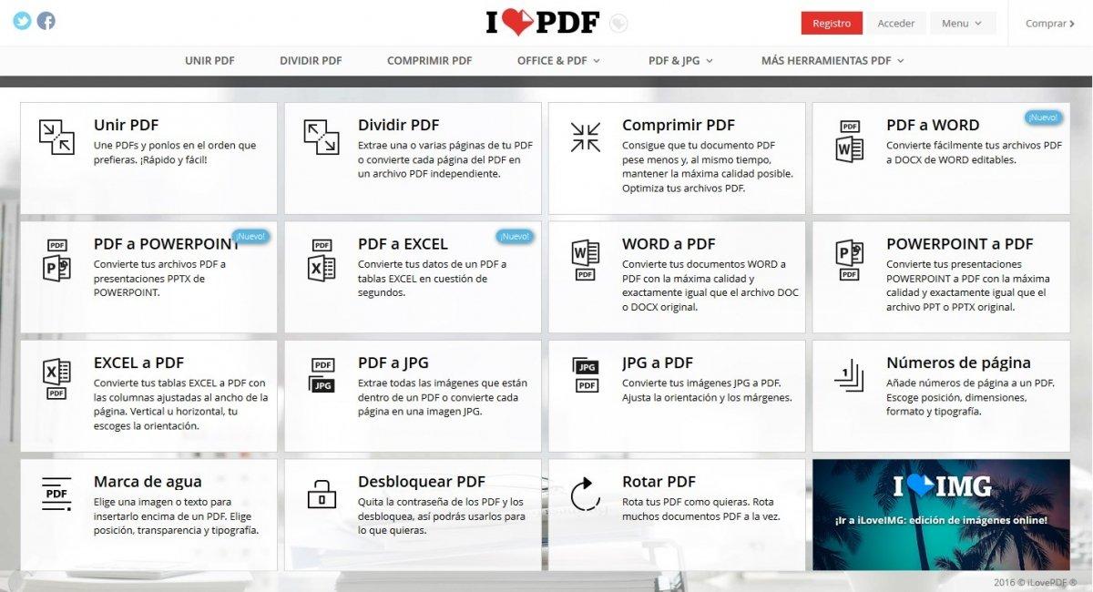iLovePDF ofrece multitud de opciones gratis