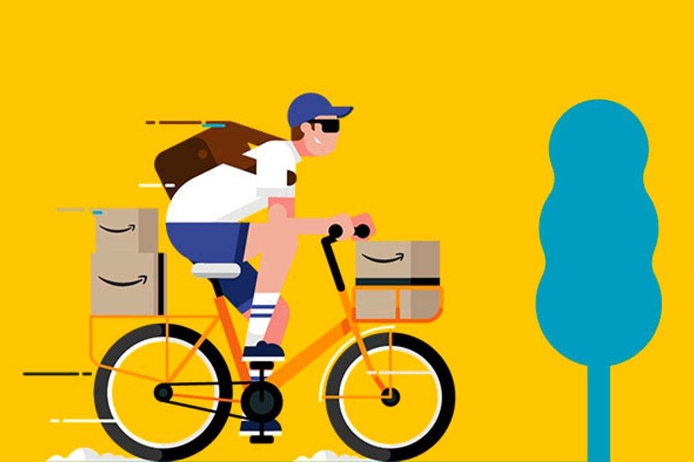 Ilustración de las entregas a domicilio de Amazon Prime