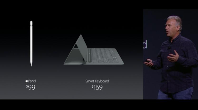 Imagen de la presentación en la que se muestran los precios del Apple Pencil y del teclado