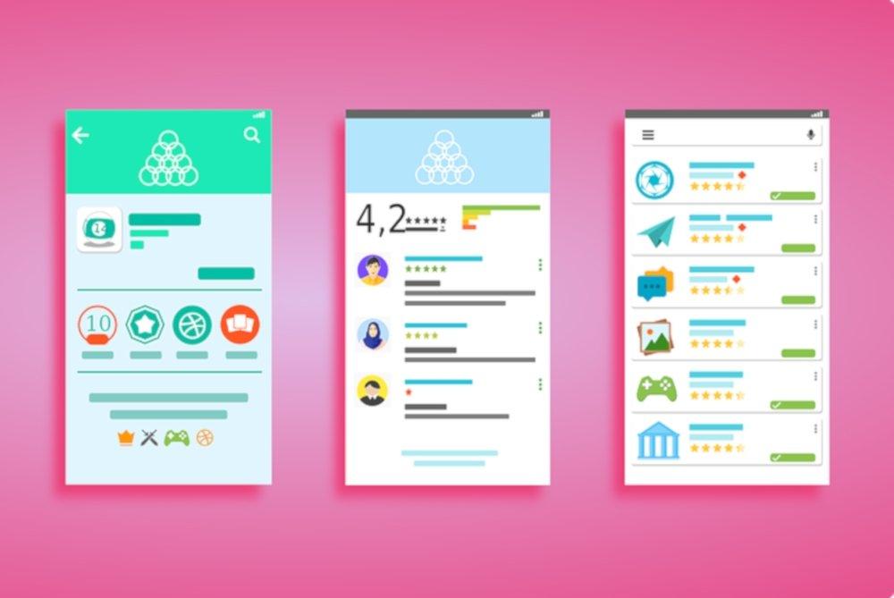 Imágenes conceptuales de la interfaz de Google Play