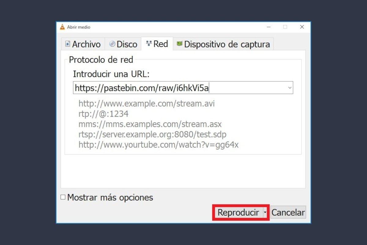 Importando una lista de TV en VLC