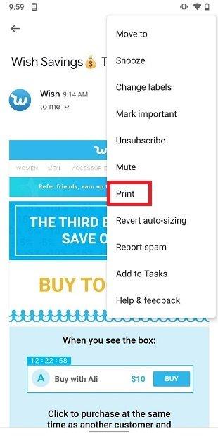 Imprimir desde Gmail