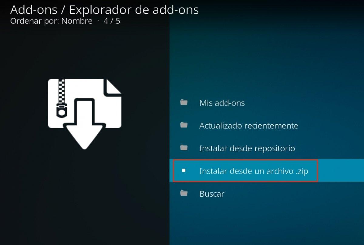 Indicamos que instalaremos el add-on desde un archivo