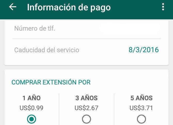 Información de pago de WhatsApp con las opciones de renovación anuales