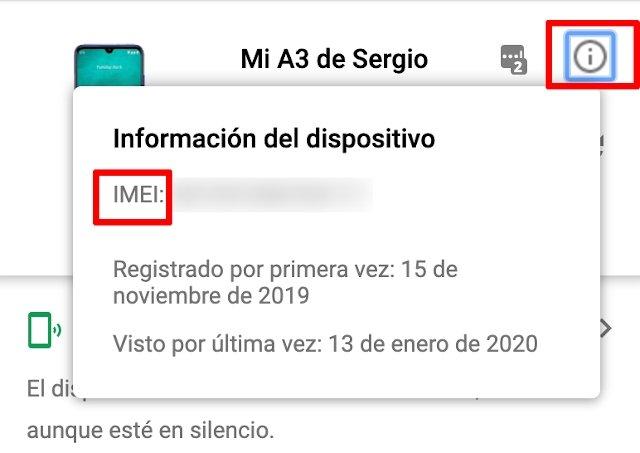 Información del código IMEI en Encontrar mi móvil